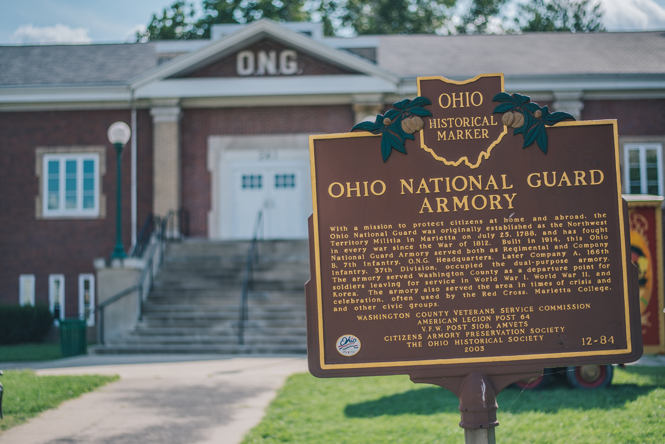 PICTURED: Ohio National Guard Armory / Founded the same year as Cincinnati on the opposite side of the state, Marietta is a city that sits at the junction of the Ohio and Muskingum Rivers in Washington County. Much like Cincinnati, the town boasts many shops, restaurants, art, and historic buildings. Marietta is 200 miles east of Cincy. / Image: Mike Menke // Published: 8.23.17