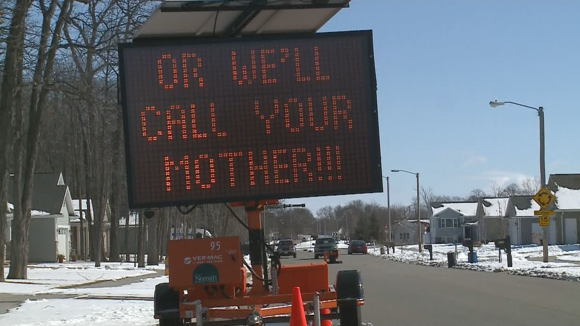 Neenah road sign in the area of Castle Oak Drive and Marathon Avenue, March 8, 2018. (WLUK)