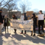 Students build a wall at the University of Illinois