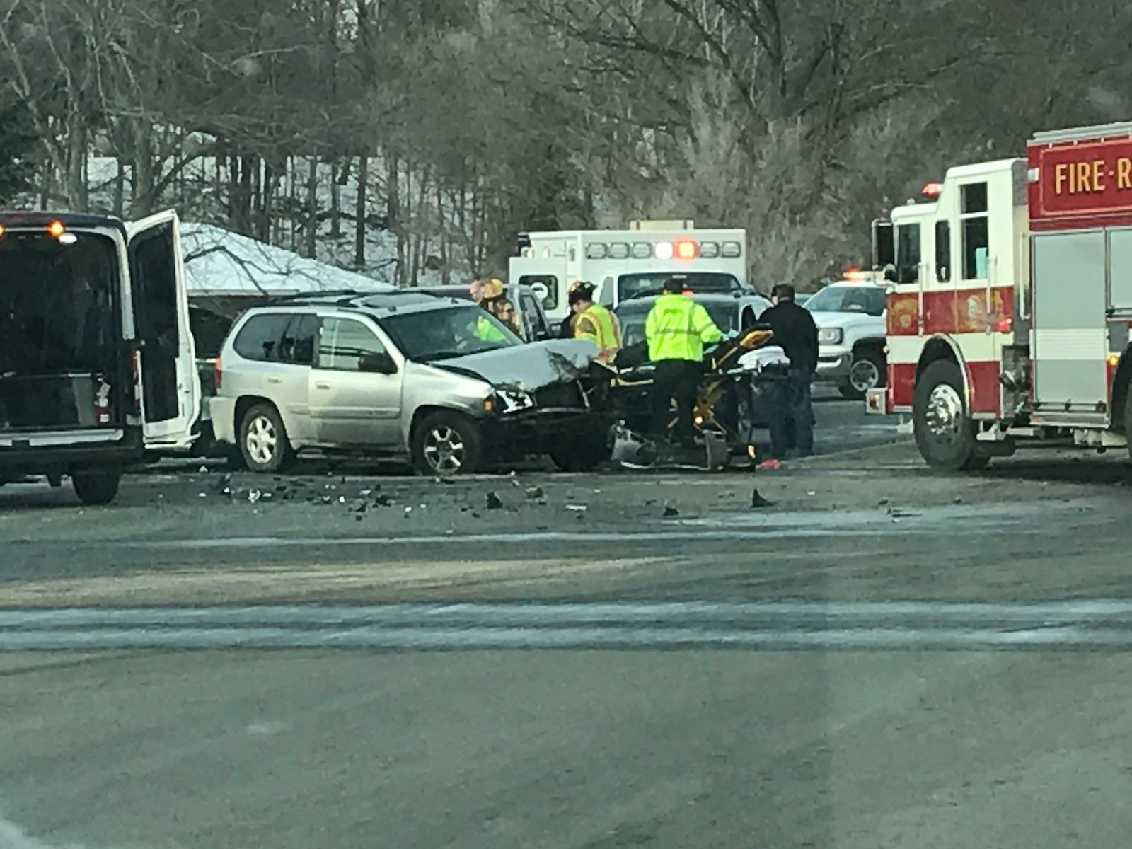 One person is reported dead following a four-car crash that forced the closure of the intersection of Sprinkle Road and East Main Street. (Contributed)<p></p>