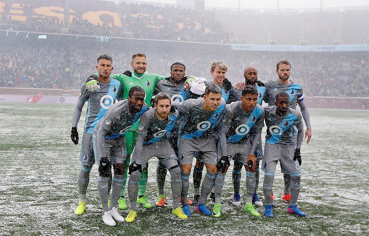 Minnesota United FC poses for the traditional starting line-up photo before taking on Atlanta United in an MLS soccer match Sunday, March 12, 2017, in Minneapolis. (Elizabeth Flores/Star Tribune via AP)