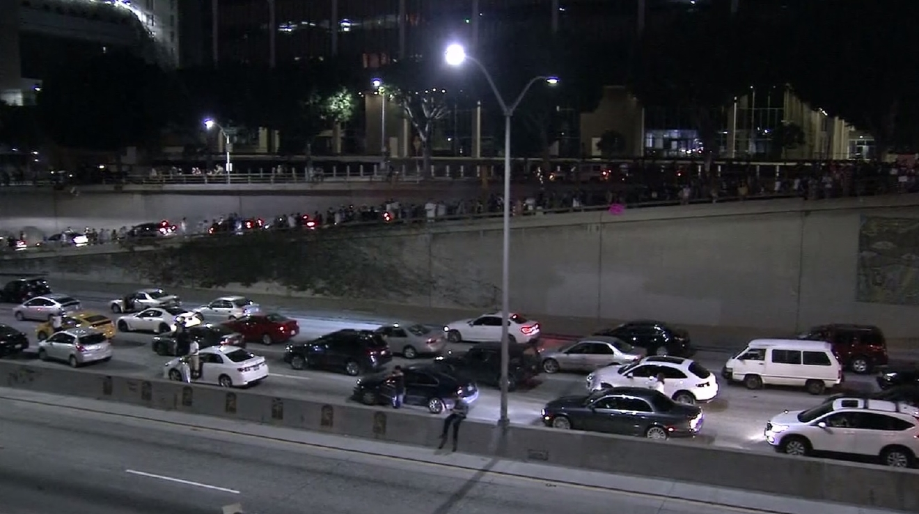 People in Los Angeles protested on the 101, blocking traffic Wednesday night, November 9, 2016. (CNN Newsource)
