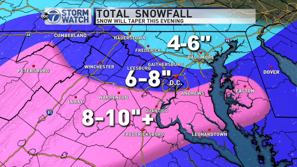 Snow continues to batter the DC area | WJLA on 24 hour snowfall map, 2012-2013 annual mean snowfall map, boston snowfall map, new york snowfall map, current snowfall map, northeast snow totals map, snowstorm map, blizzard totals map, snowfall today map, vt snowfall map, snowfall averages map, wny zip code map, annual snow totals map, rainfall totals map, square map, snowfall state map, idaho snowfall map, points of interest map, projected snowfall map, new jersey snow totals map,