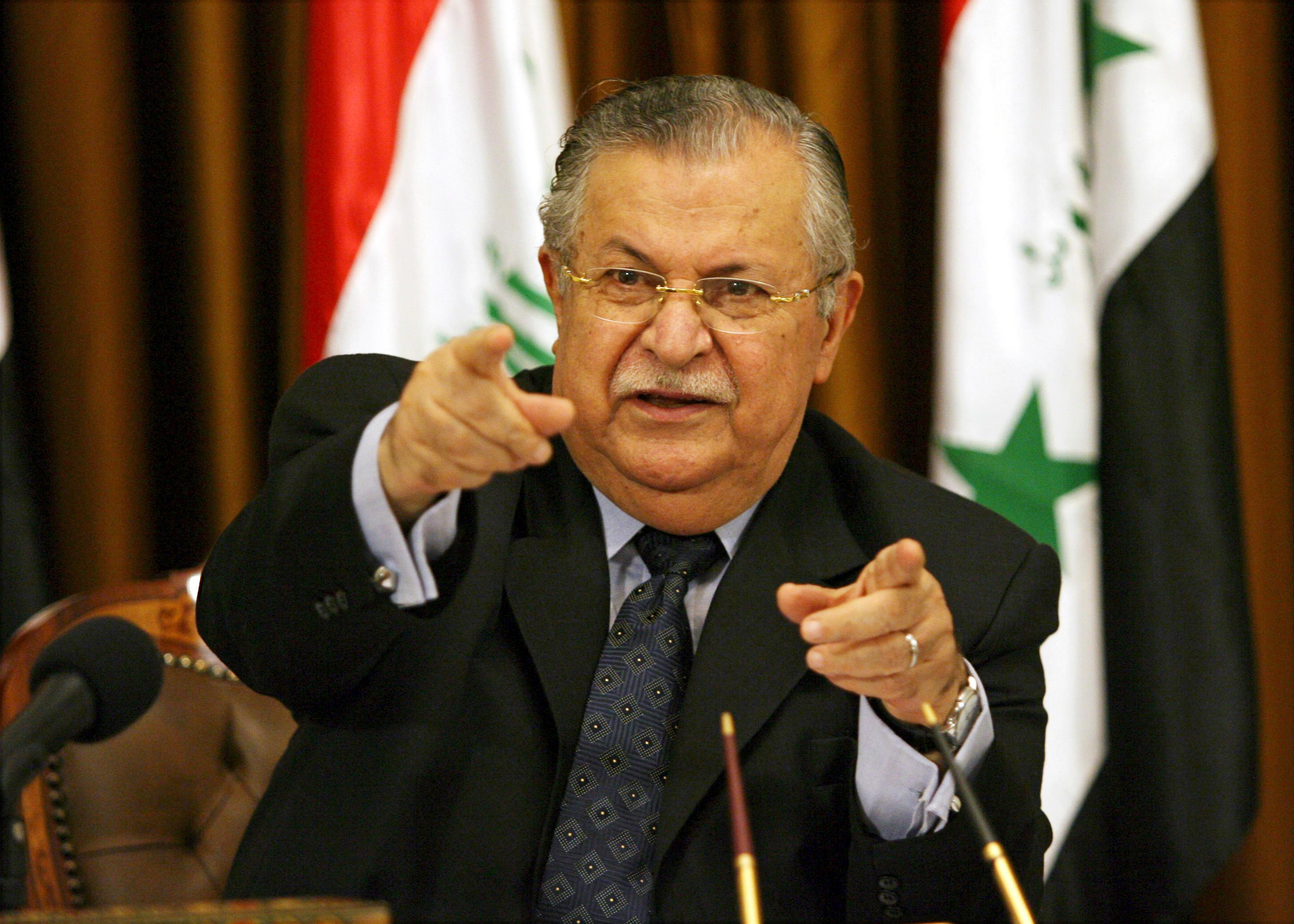 FILE - In this Aug. 17, 2007 file photo, then Iraqi President Jalal Talabani talks to reporters in Baghdad, Iraq. Talabani, a lifelong fighter for Iraq's Kurds who rose to become the country's president, presenting himself as a unifying father figure to temper the potentially explosive hatreds among Kurds, Shiites and Sunnis has died in a Berlin hospital at the age of 83. (AP Photo/ Hadi Mizban, File)