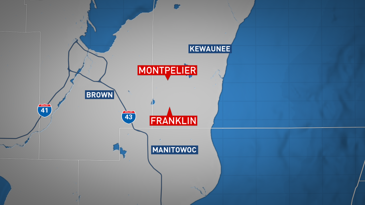 Location of mailbox vandalism reports in Kewaunee County, Feb. 7, 2018. (WLUK graphic)<p></p>