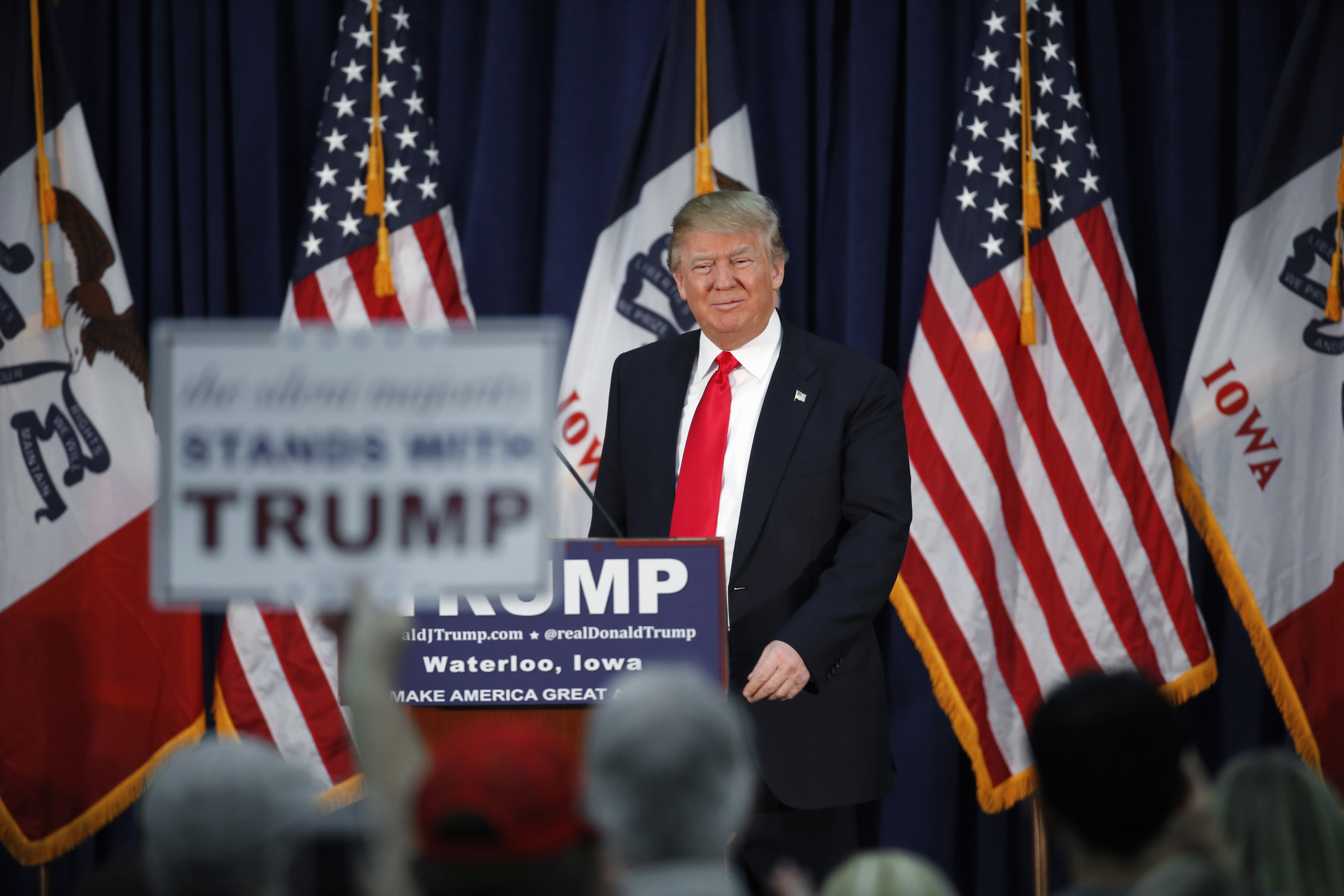 Republican presidential candidate Donald Trump speaks during a campaign event, Monday, Feb. 1, 2016 in Waterloo, Iowa. (AP Photo/Paul Sancya)