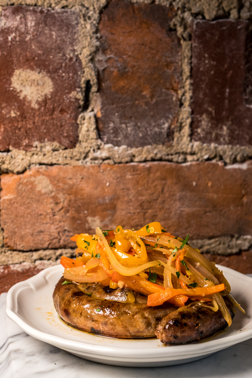Sausage & peppers: house fennel sausage pinwheel, peppers, and onions / Image: Catherine Viox // Published: 2.11.20