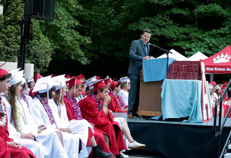 OSF Creative Director Bill Rauch was the Keynote Speaker for the Ashland High Class of 2018 Commencement Ceremony at Lithia Park.   [ / PHOTO BY:  LARRY STAUTH JR]
