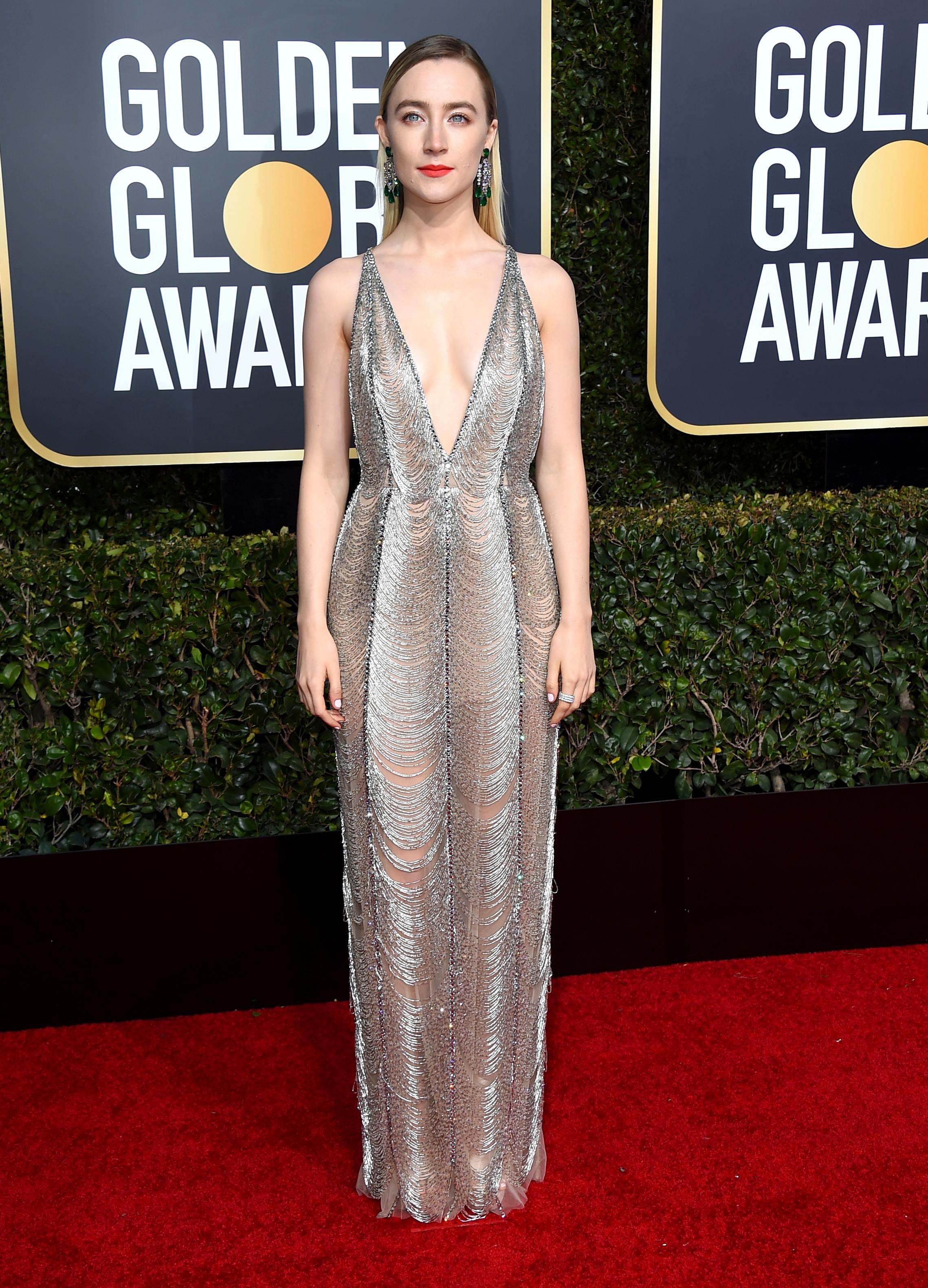 Saoirse Ronan arrives at the 76th annual Golden Globe Awards at the Beverly Hilton Hotel on Sunday, Jan. 6, 2019, in Beverly Hills, Calif. (Photo by Jordan Strauss/Invision/AP)