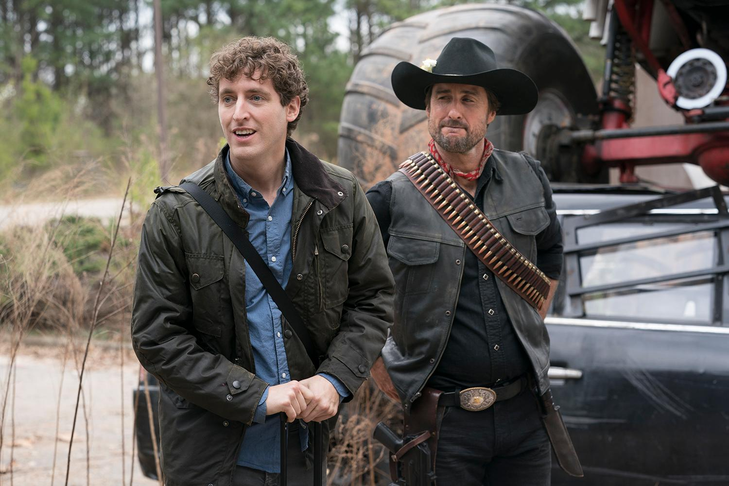 Flafstaff (Thomas Middleditch) and Albuquerque (Luke Wilson) in Columbia Pictures' ZOMBIELAND: DOUBLE TAP.{ }(Credit: Jessica Miglio / Columbia Pictures)