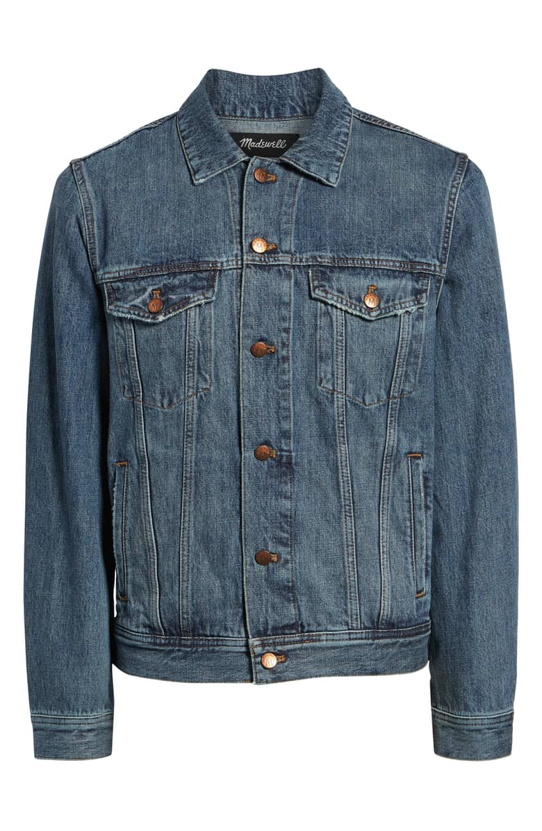 Madewell Classic Denim Jacket, $128.{ }The men in our lives work hard! Gift them something they'll feel appreciated in this holiday season! (Image courtesy of Nordstrom).