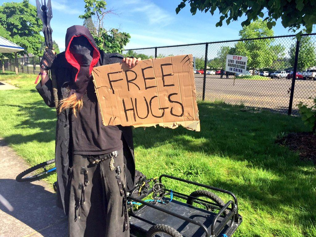 Seen outside the Trump rally at the Lane Events Center in Eugene, Ore., on May 6, 2016 (SBG Photo)