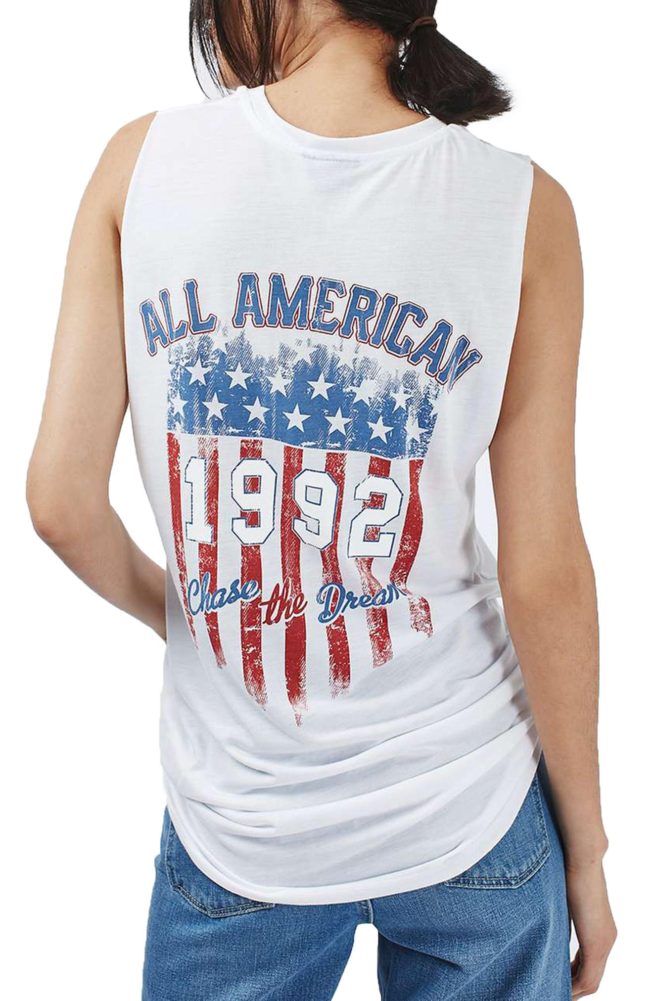 Graphic tees and denim shorts -- done and done. Topshop American 4th of July Tank, $40, shop.nordstrom.com (Image: Courtesy Nordstrom)
