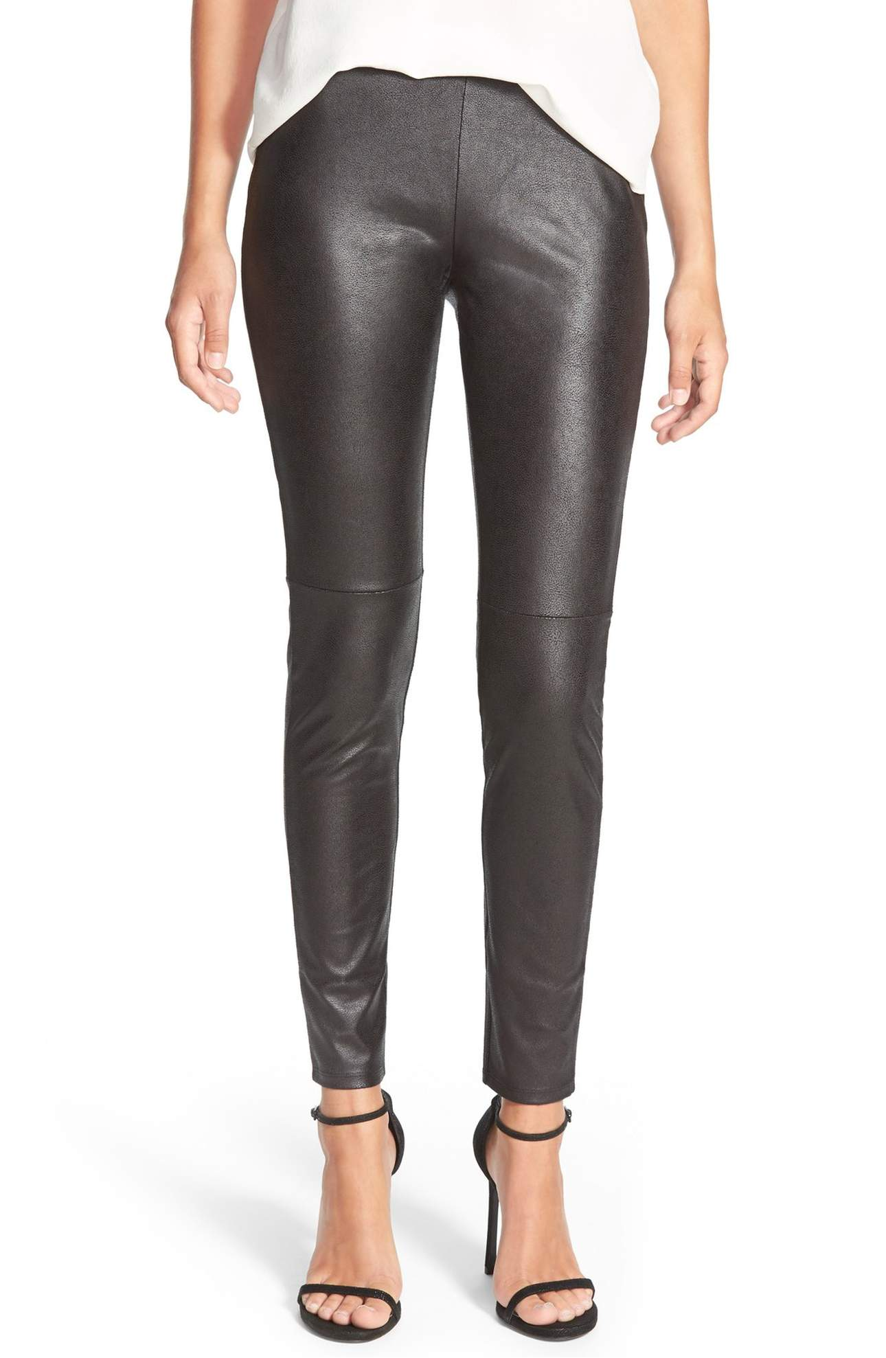 <p>Faux Leather Leggings - $79. Add instant polish to your look with the streamlined silhouette of lightly textured faux-leather leggings detailed with moto-inspired articulated knees. Ladies, you can literally wear these bad boys with ANY top. (Image: Nordstrom){&amp;nbsp;}</p><p><br></p><p></p>