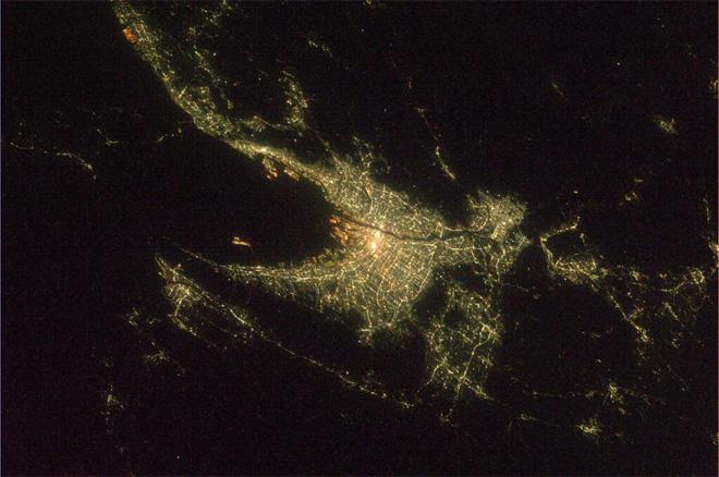 Night view of Osaka (Photo & Caption courtesy Koichi Wakata (@Astro_Wakata) and NASA)