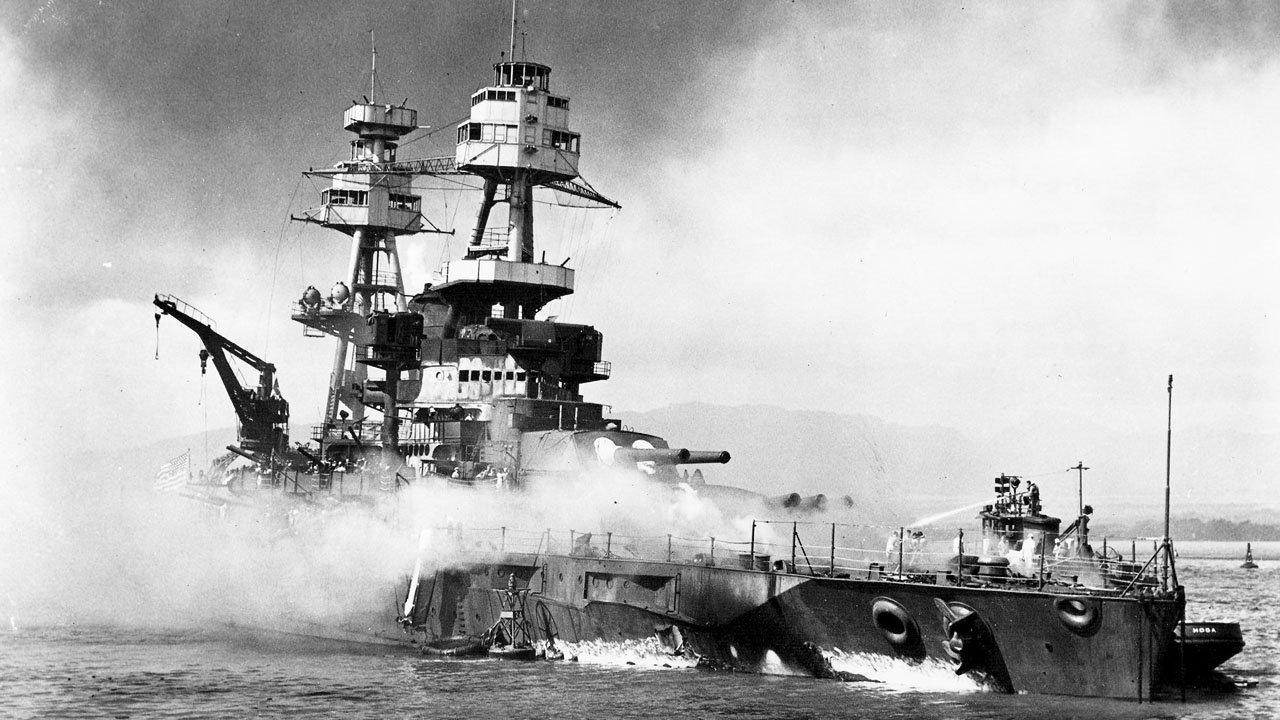The battleship Nevada in the aftermath of the Japanese attack on Pearl Harbor. (U.S. Navy National Museum of Naval Aviation/MGN)<p></p>