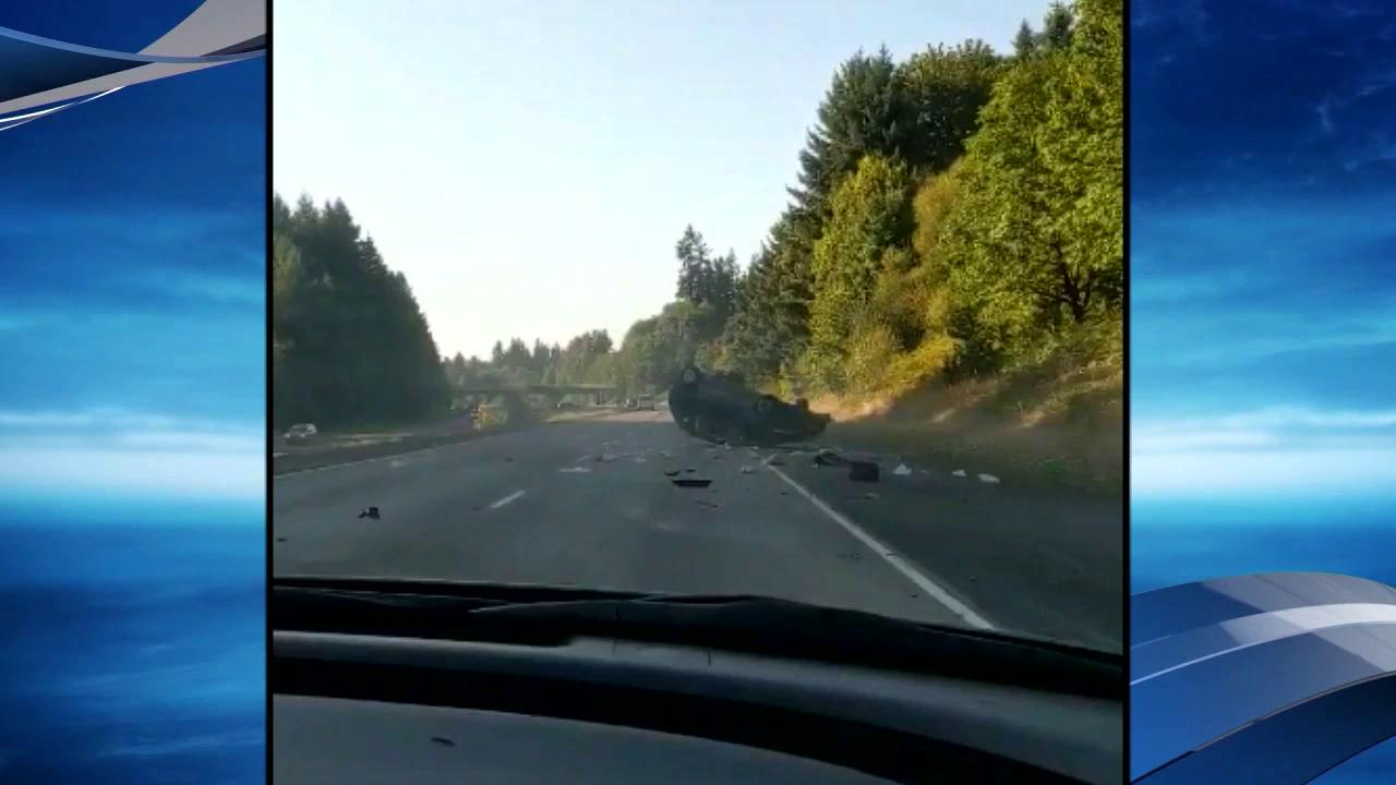 driver crashes on I-205Thumbnail