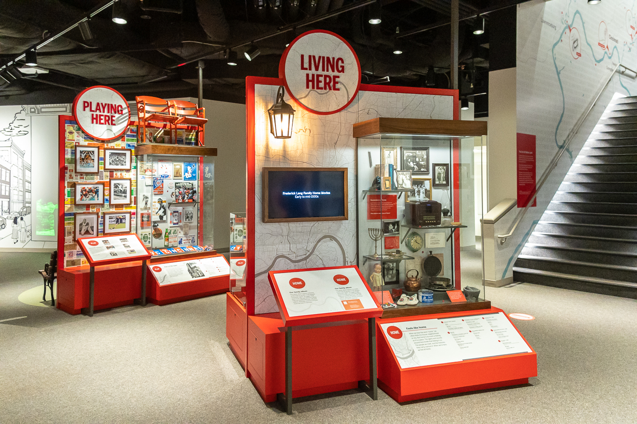 The 'Living Here' display showcases more personal items from Cincinnatians throughout history. / Image: Phil Armstrong, Cincinnati Refined // Published: 10.23.20