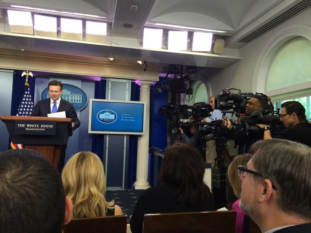 """In daily press briefing with @PressSec Josh Earnest."" (@Cammy_Dierking)"