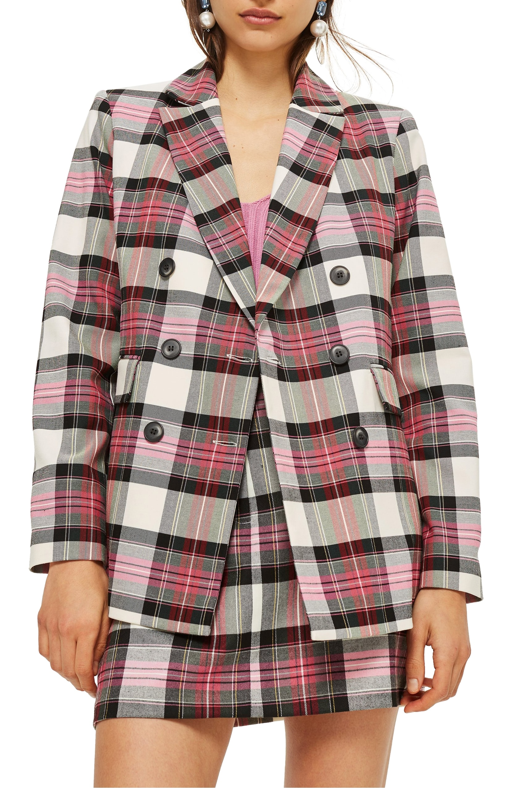 The Trend: Plaid. All prepped up for the coming season, this double-breasted tartan jacket is a bit over-sized and loaded with styling options. TOPSHOP - $110.00. (Image: Nordstrom){ }