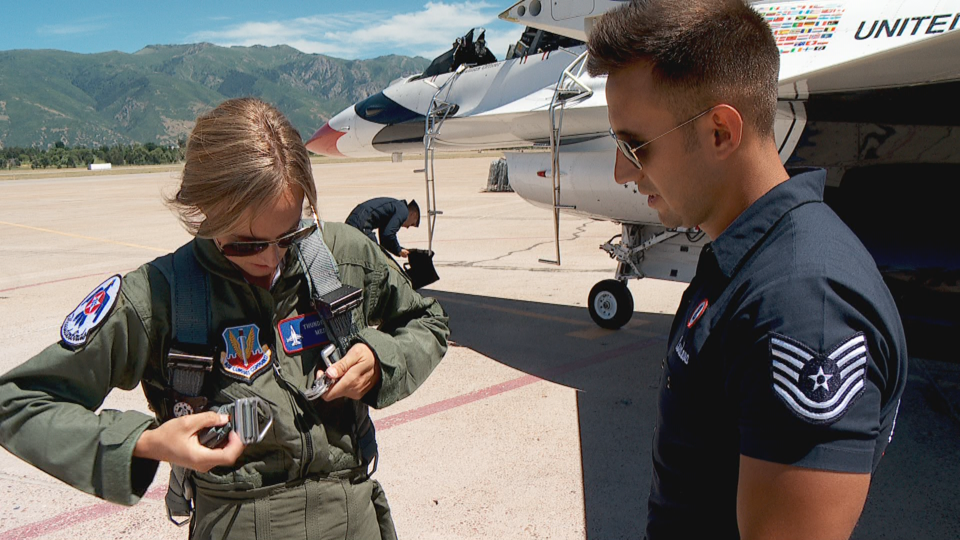 KUTV's Morgan Saxton suits up for her flight with the legendary Thunderbirds ahead of Hill Air Force Base's air show (Photo: KUTV){ }