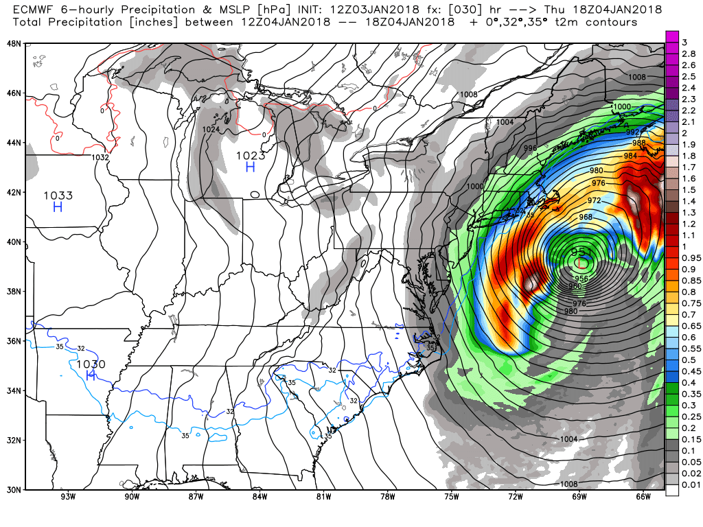 Euro model shows major storm with a predicted central pressure of 951 mb as it passes off the New England coast on early Thursday afternoon (Via WeatherBell.com)