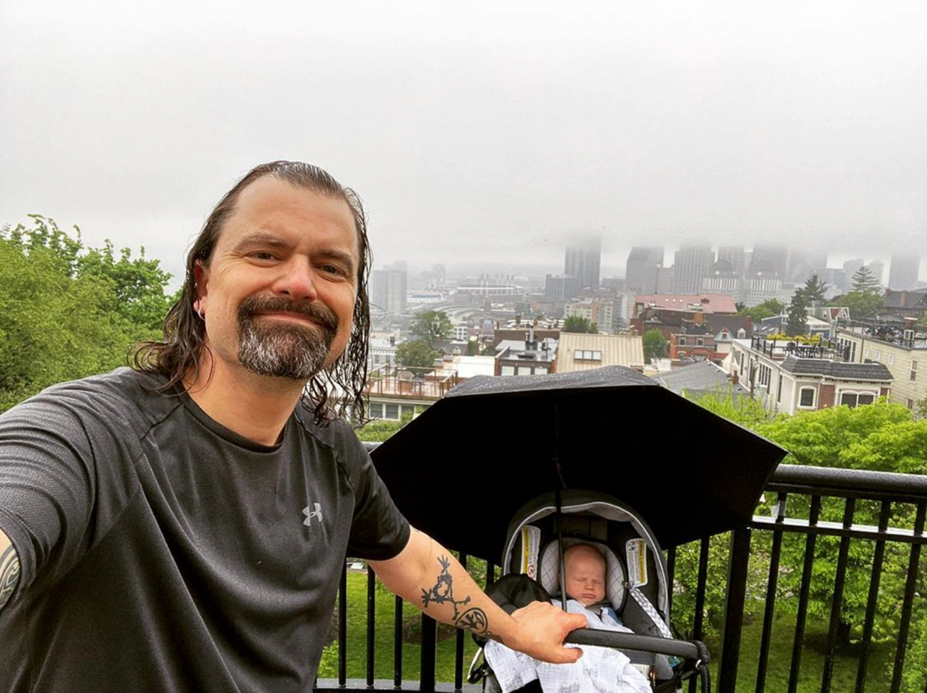 Since April 5th—one month into little James' life—Mike and his infant son have walked Cincinnati and Northern Kentucky every day, achieving impressive milestones together. / Image courtesy of Mike Moroski // Published: 8.9.20<p></p><p></p>
