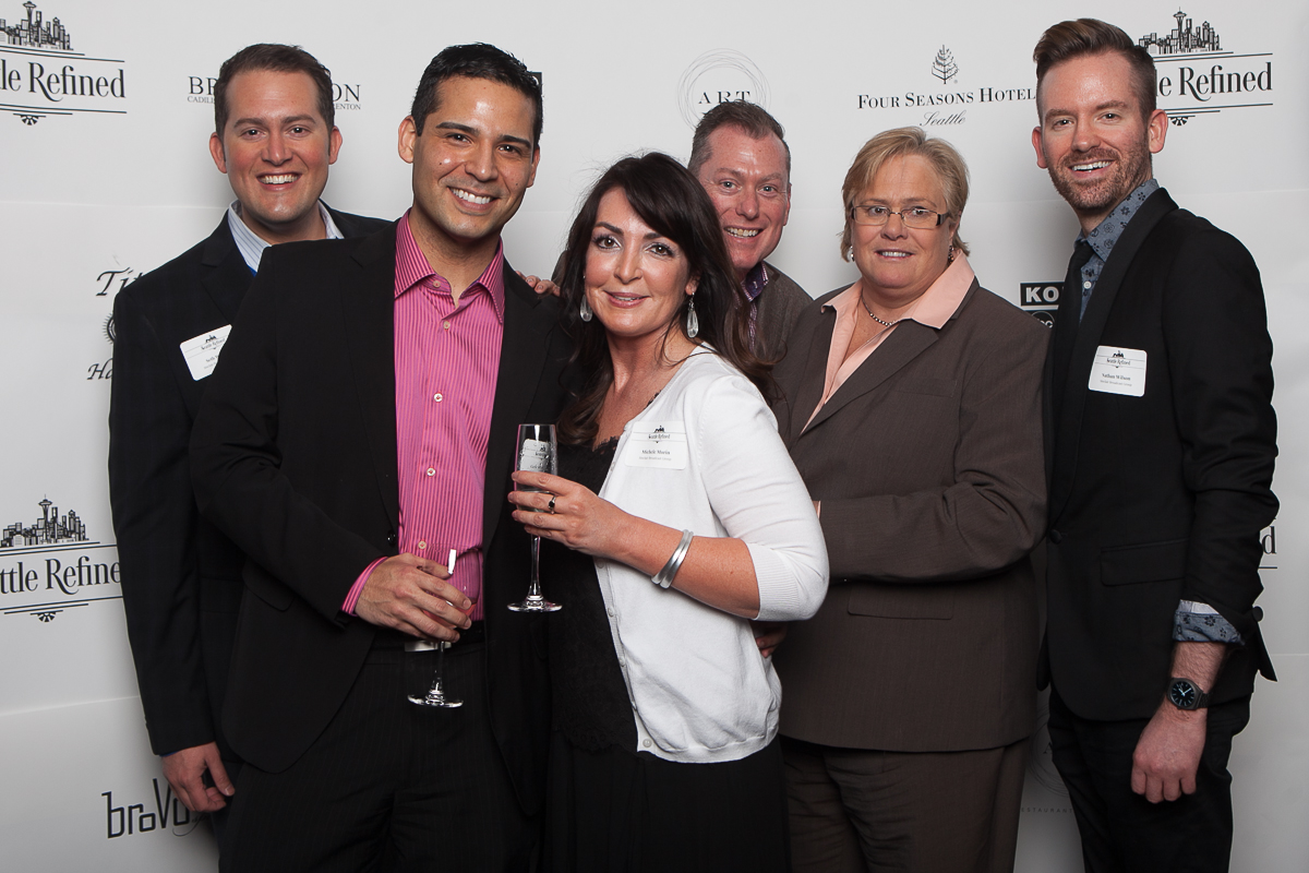 Michelle Morin, Holly Gauntt, Seth Wayne, Gerardo Lopez, Jason Hamblin and Nathan Wilson celebrate the launch of Seattle Refined (Image: Joshua Lewis / Seattle Refined)