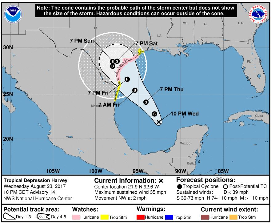 National Hurricane Center: Depression turns into Tropical Storm Harvey