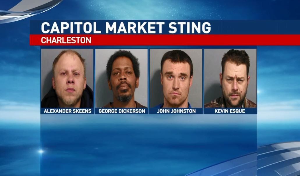 <p>Charleston police say Alexander Tygankov Skeens, left, George Warren Dickerson III, John Michael Johnston and Kevin Douglas Esque are among 10 people who face charges after a sting Thursday in the Capitol Market/Smith Street area. (Charleston Police Department)</p><p></p>