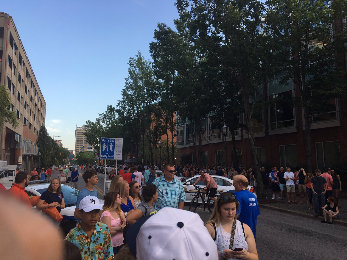 Riverbend audience waiting while the suspicious package is investigated. (Image: JT Chandler)